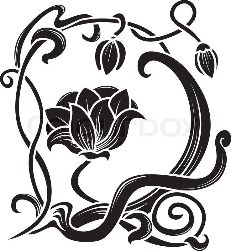 Blume schablone stock vektor colourbox for Ornamente jugendstil