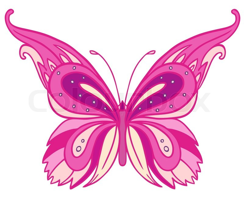 Pink Butterfly Isolated On White Background Stock Vector
