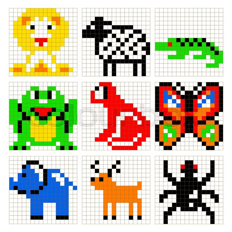 Pixel art animals vector set. Brick style zoo for kid building kit ...
