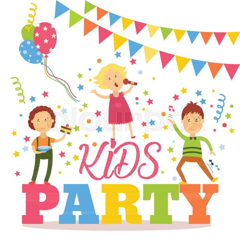 Kids Party Banner Poster With Children Signing Dancing Eating Birthday Cake Flat Cartoon Vector Illustration Isolated On White Background