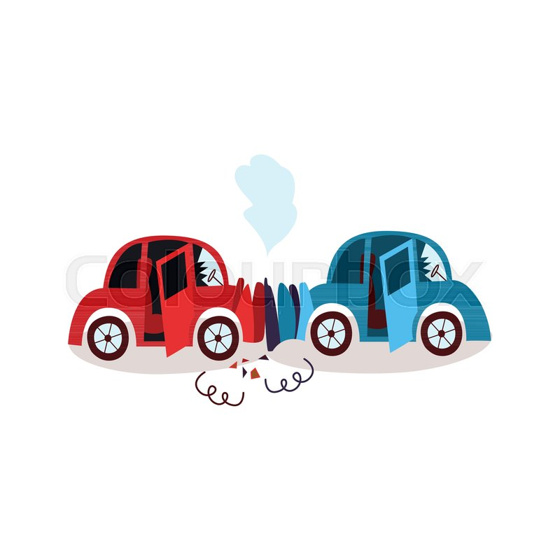 vector flat cartoon car crash in head on collision accident both rh colourbox com cartoon car crash game cartoon car crash images