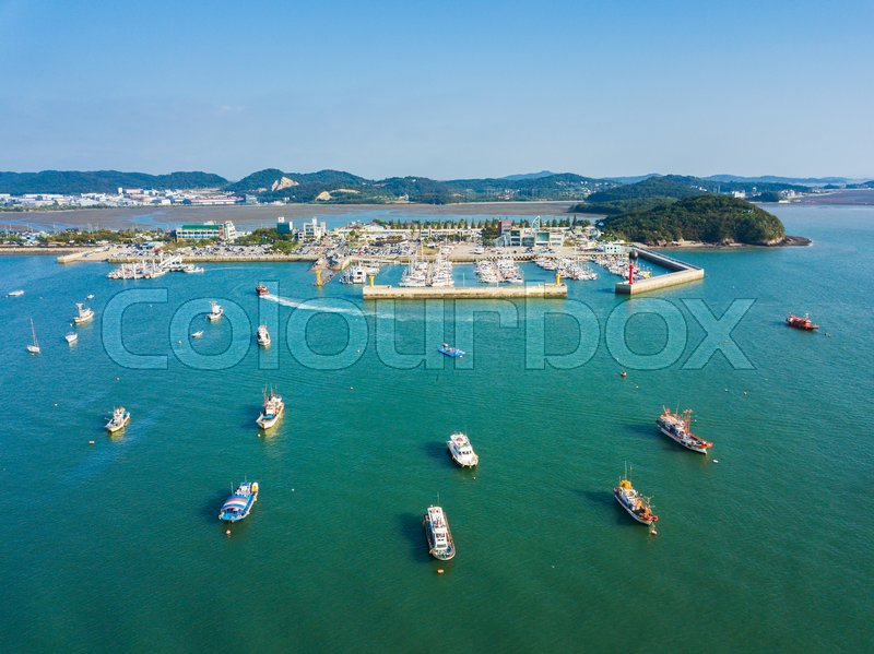 High angle view of the sea with many boat in Daebudo Island,South Korea, stock photo
