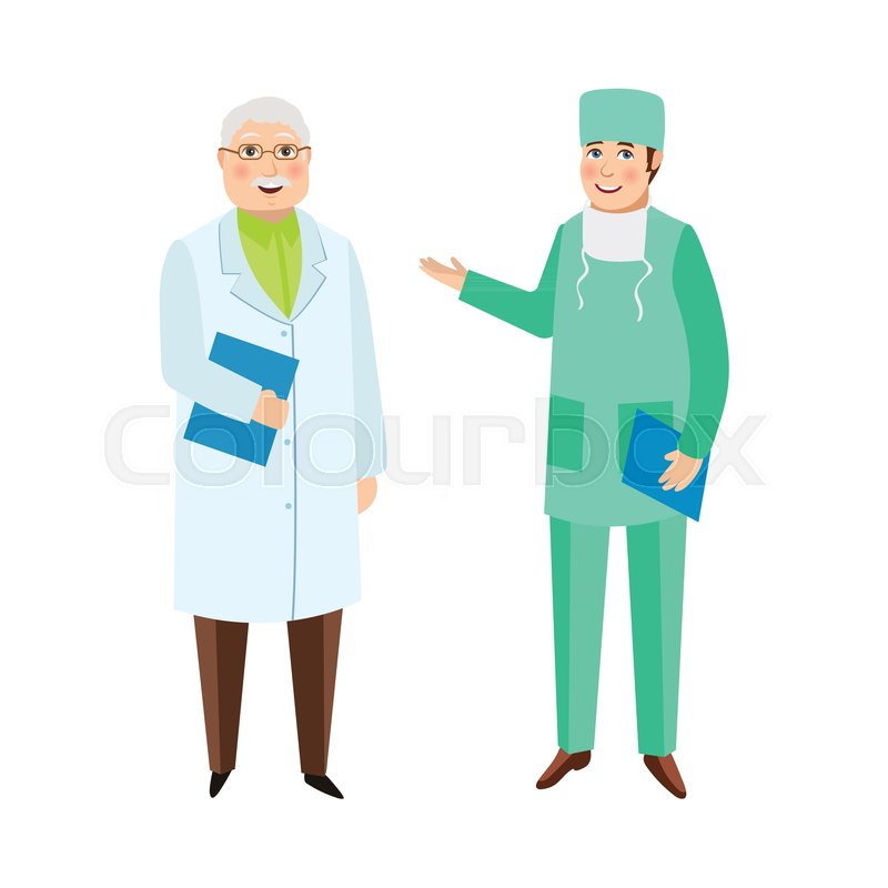 Two male doctors, therapist and surgeon, medical staff, hospital ...
