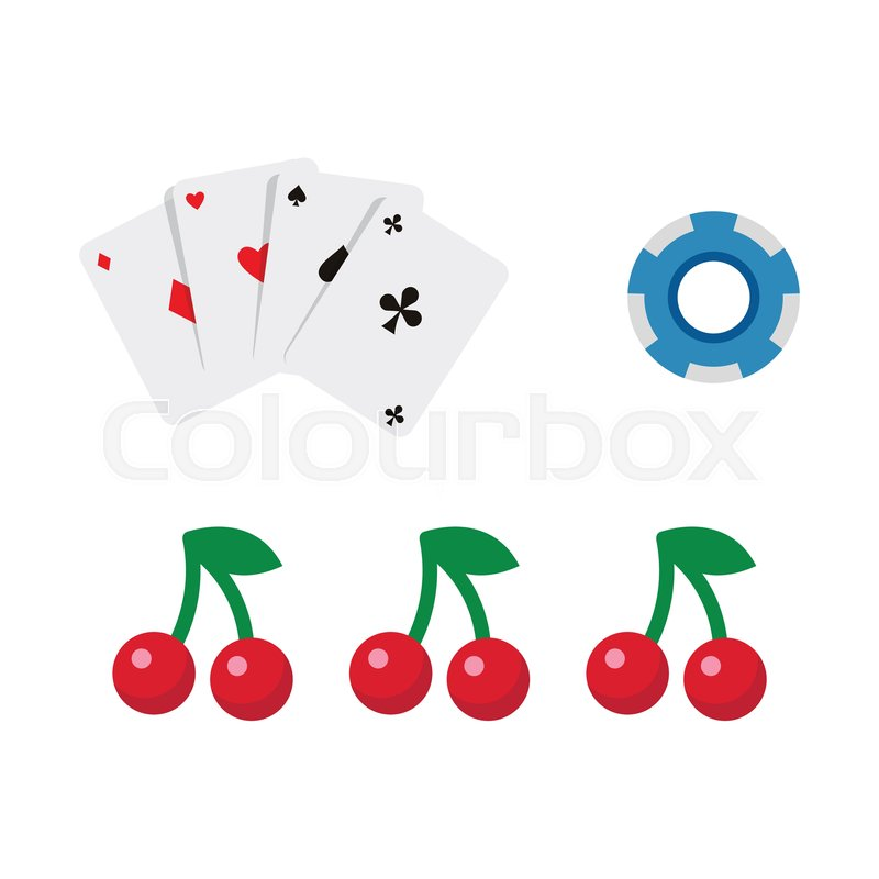 vector flat cartoon casino gambling symbols set fruit cherry berry