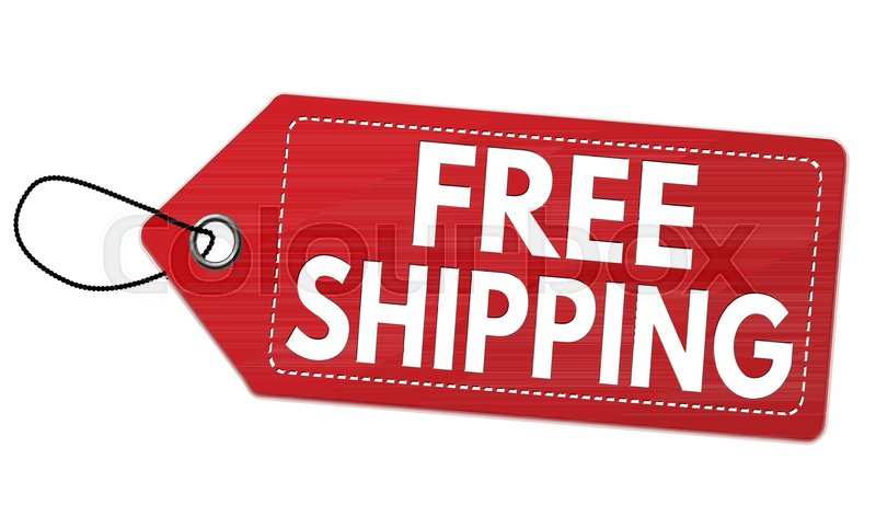 free shipping red label or price tag on white background vector