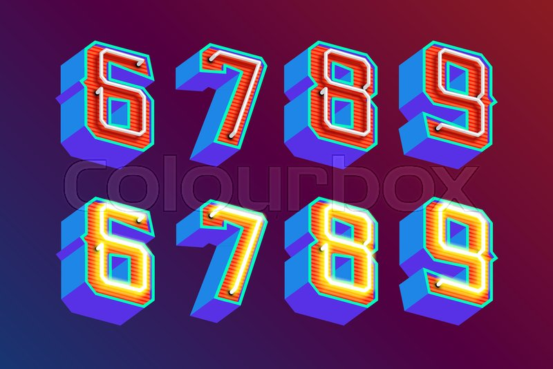 3d Vintage Letters With Fluorescent Neon Lights And Onoff Switch
