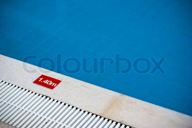 Pool Depth Sign At The Edge Of Swimming Stock Photo