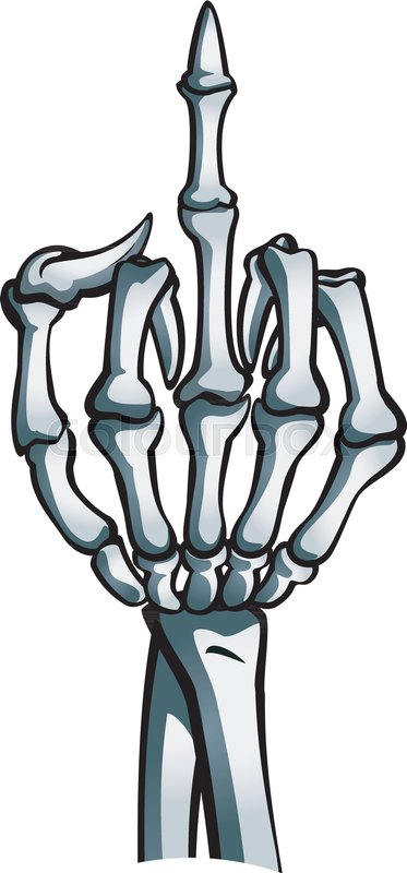 Skeleton hand shows middle finger | Stock Vector | Colourbox