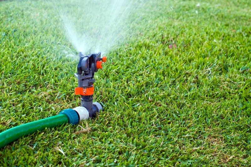Lawn Sprinkler Spraying Water On The Grass Stock Photo