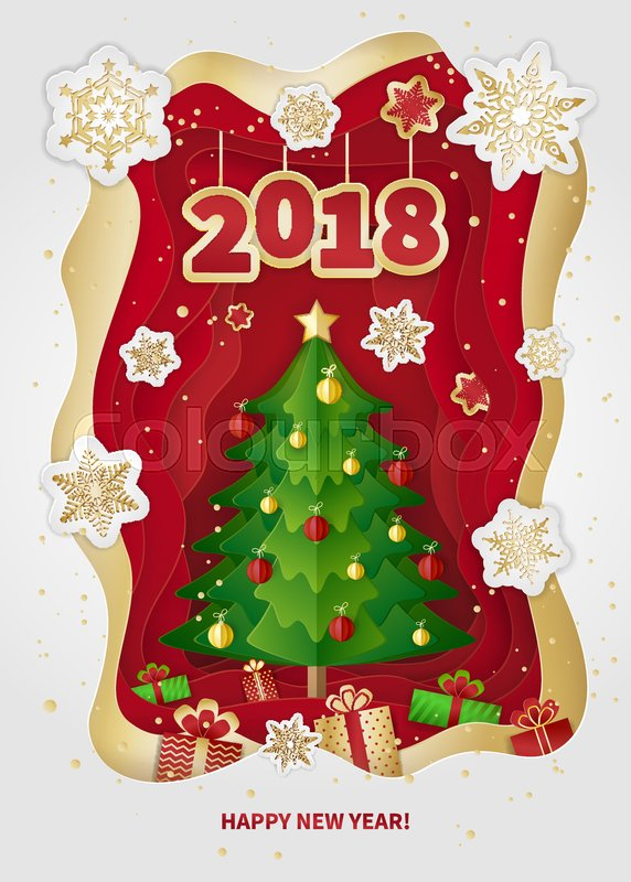 New Year 2018 Greeting Card Design Christmas Tree Decorations Gifts And Snowflakes Paper Arts Crafts Style Vector Illustration
