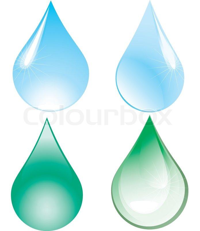Grune Bohnen Farbe : Vier Tropfen  zwei grüne und zwei blaue VektorIllustration, Stock