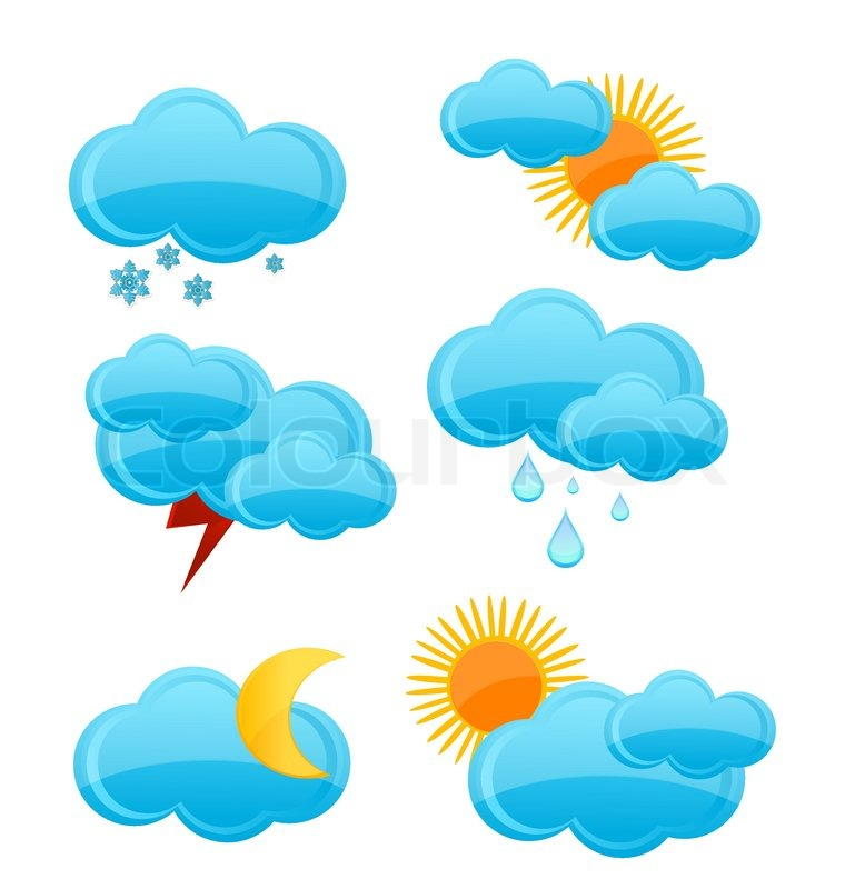 Weather Symbols Set Of Cloud And Rain Blue Color Stock Vector