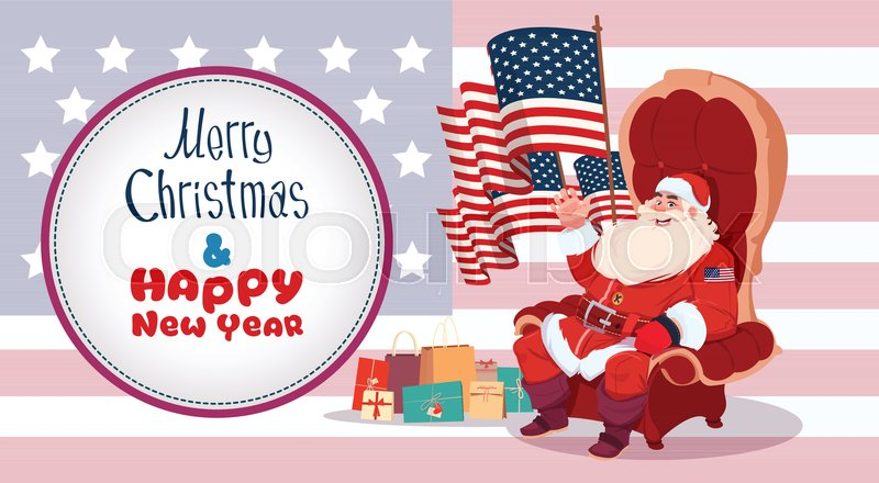 merry christmas and happy new year greeting card with santa claus sitting hold usa flag winter holidays banner concept flat vector illustration stock