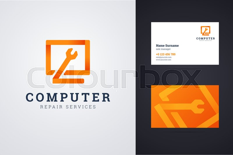 Computer Repair Service Logo And Business Card Template With - Computer repair business card template