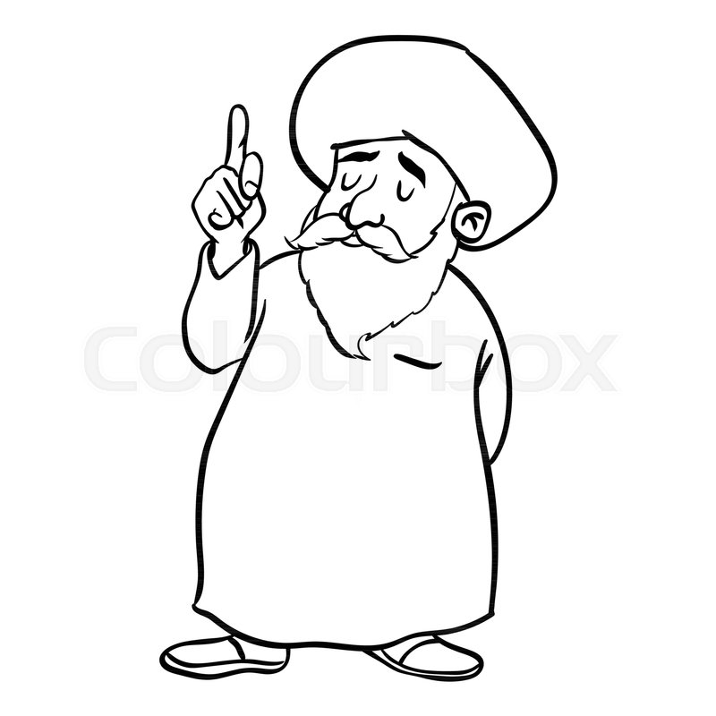 Line Drawing Man : Hand drawing of cartoon muslim old man standing pointer
