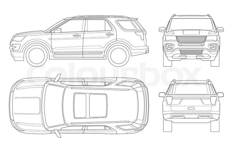 outline off road write car or modern vip transport offroad truck