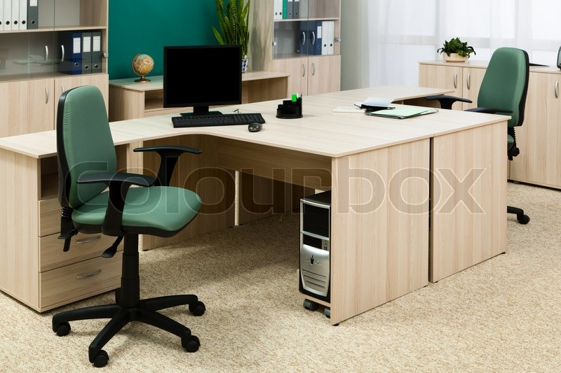 Computer on a desk in a modern office | Stock Photo | Colourbox