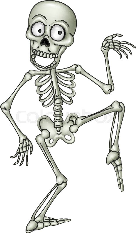 Vector Illustration Of Cartoon Funny Human Skeleton Dancing Stock