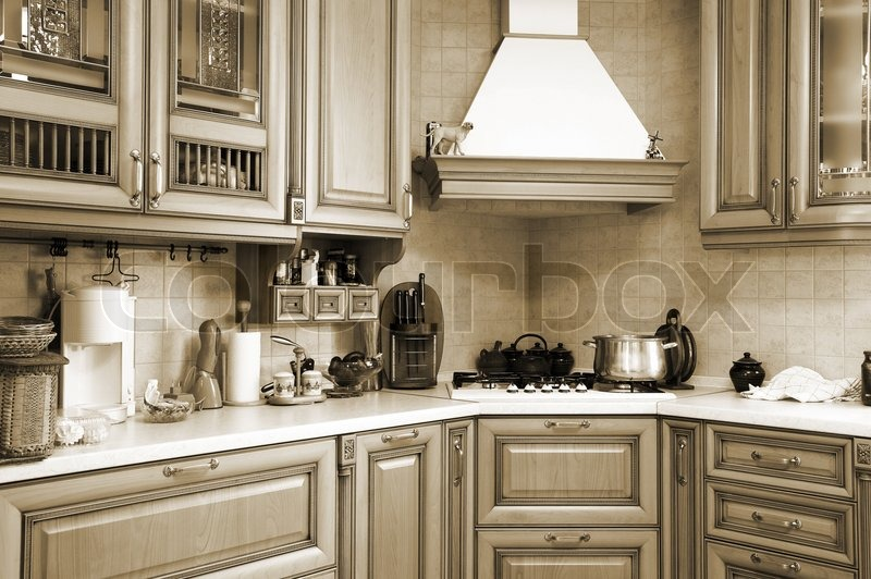 Beautiful Kitchen Photos gas cooker on modern and beautiful kitchen | stock photo | colourbox