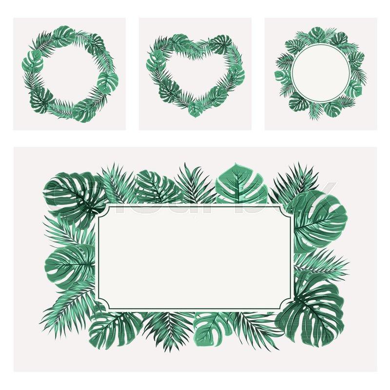 Exotic tropical greenery border frame templates set ...