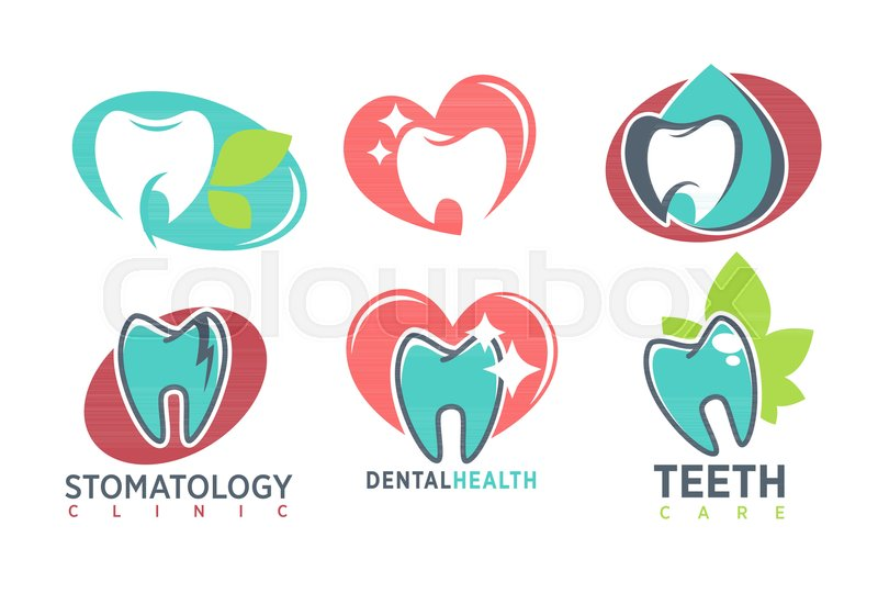Tooth stomatology clinic logo template vector isolated icons of tooth stomatology clinic logo template vector isolated icons of healthy white teeth in mouth herbal leaf and shine sparkle on tooth or cavity caries for maxwellsz