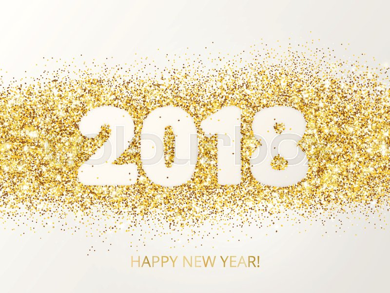 2018 glitter typography design happy new year greeting card golden 2018 glitter typography design happy new year greeting card golden sparkling vector dust rectangle with numbers great for calendars christmas cards m4hsunfo