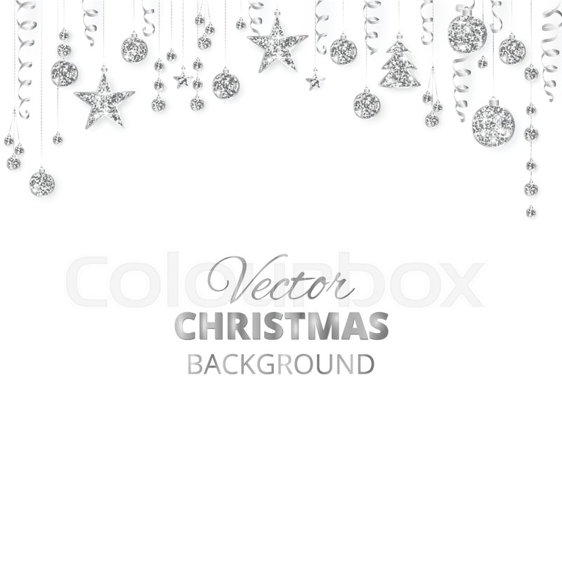 silver fiesta border festive garland with hanging balls and ribbons isolated on white great for new year party posters headers