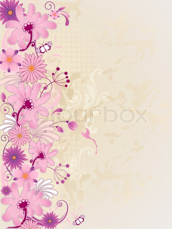 Vector Retro Floral Background With Pink Flowers Stock