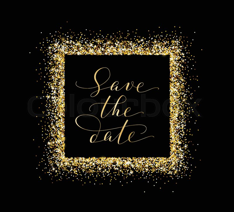save the date card hand written custom calligraphy on black