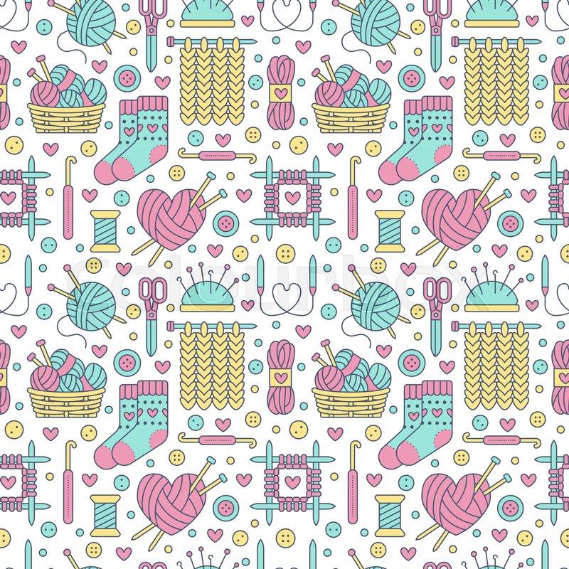Knitting Crochet Seamless Pattern Stock Vector Colourbox