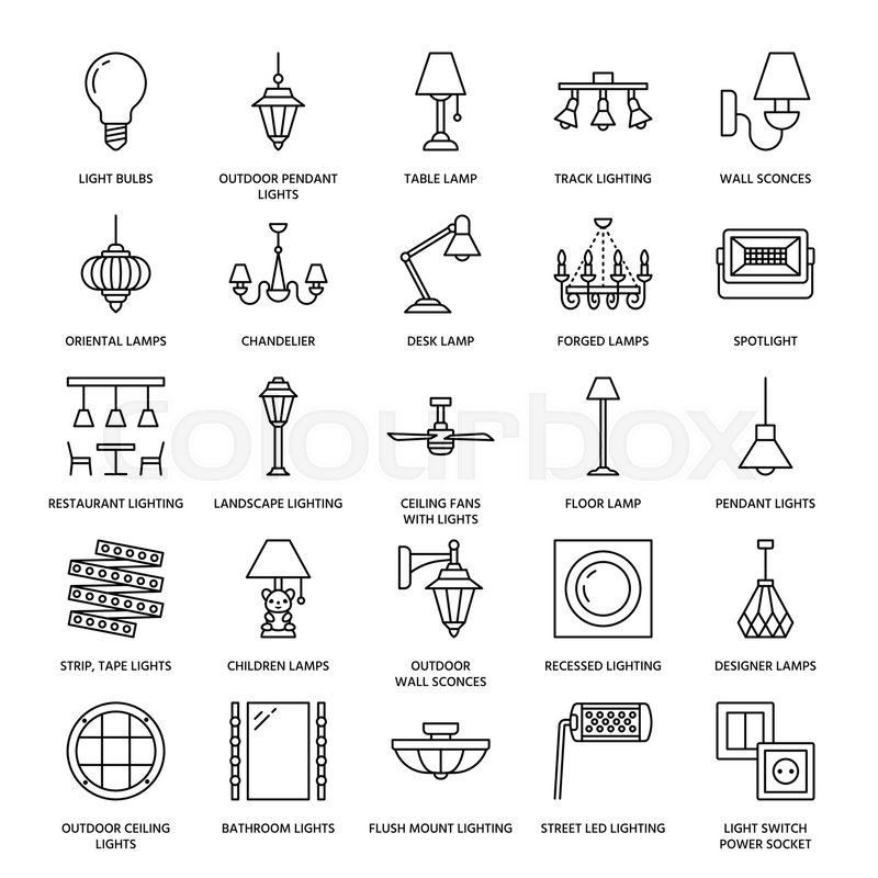 Light fixture, lamps flat line icons. Home and outdoor lighting ...