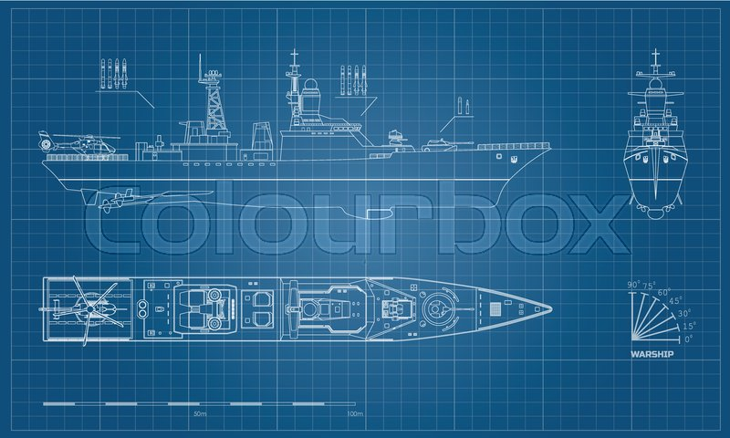 Blueprint of military ship top front and side view battleship blueprint of military ship top front and side view battleship model industrial drawing warship in outline style vector illustration vector malvernweather Images