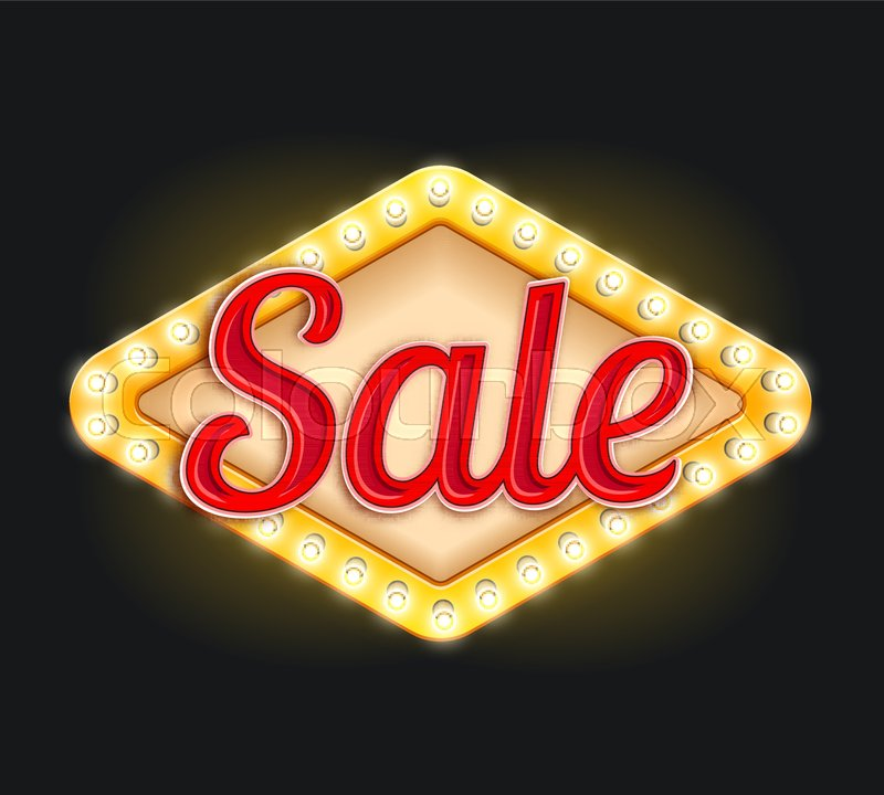 Sale Icon Design Of Light Bulbs Lamp Signage In Retro