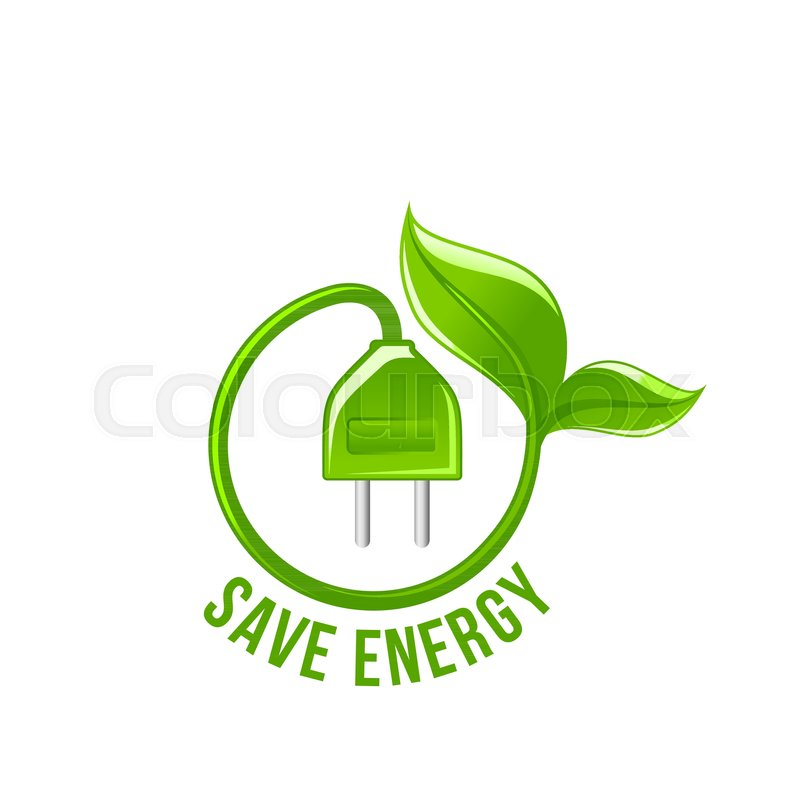 Save Energy Symbol Of Electricity Plug And Green Leaf For Power