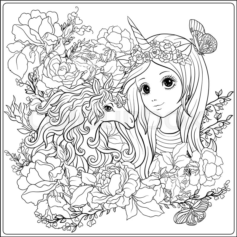 Coloring Pages For Girls: Cute Girl And Unicorn In Roses Garden. ...