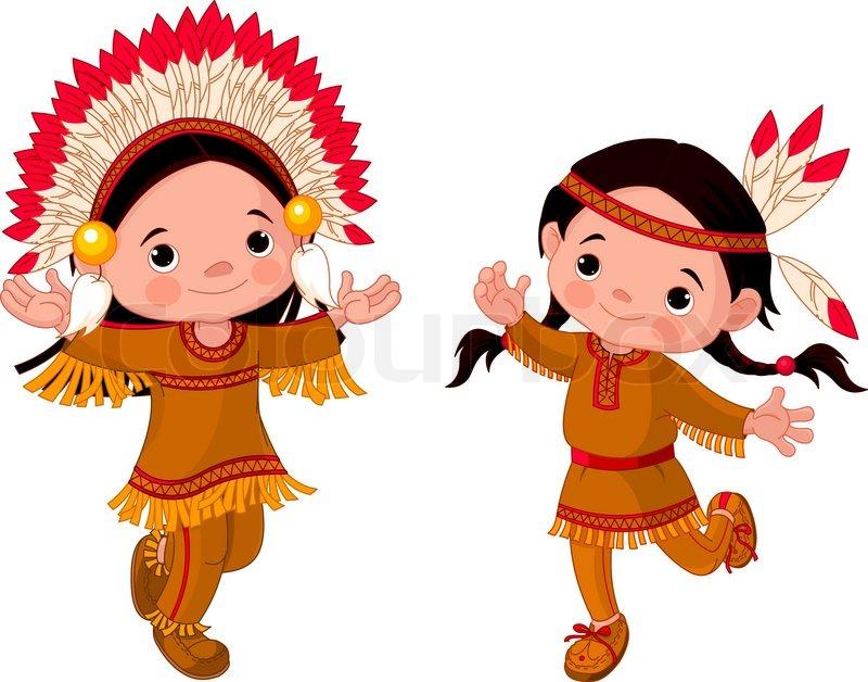 Nette Paare der Indianer Kinder tanzen | Vektorgrafik | Colourbox
