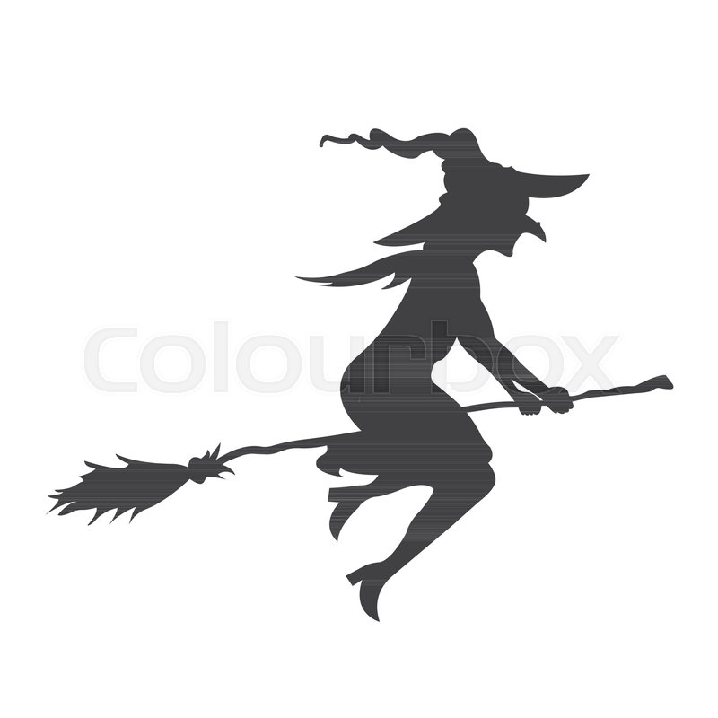 Stock vector of 'silhouette, broomstick, ghost'