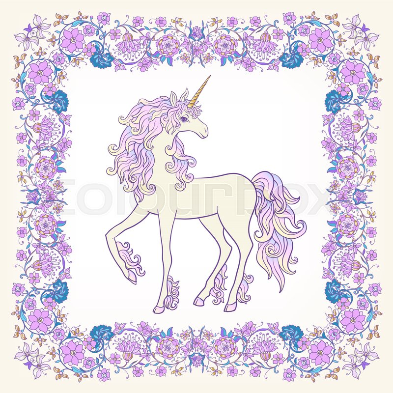 Unicorn in the frame, arabesque in the royal, medieval style in pink ...