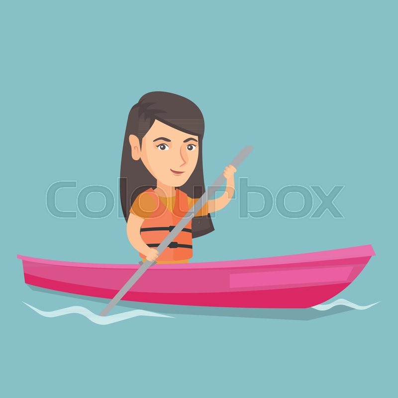 Young caucasian traveler woman traveling by kayak. Sportswoman riding a kayak on river. Traveling woman paddling a canoe. Sport and tourism concept. Vector cartoon illustration. Square layout, vector