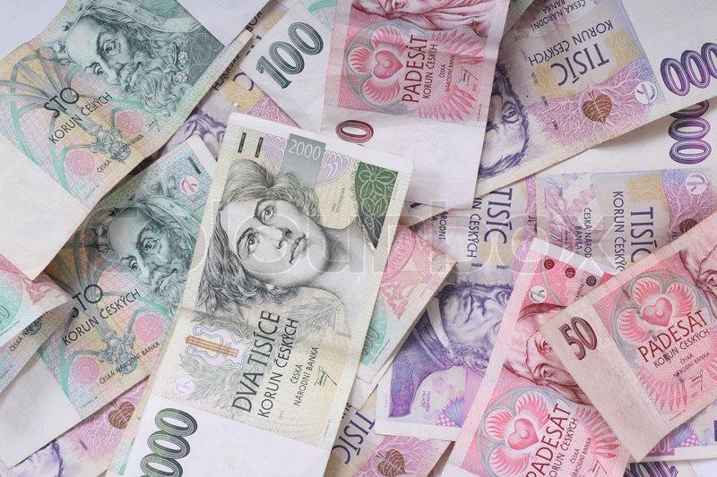 New Color European Money Background Czech Republic Stock