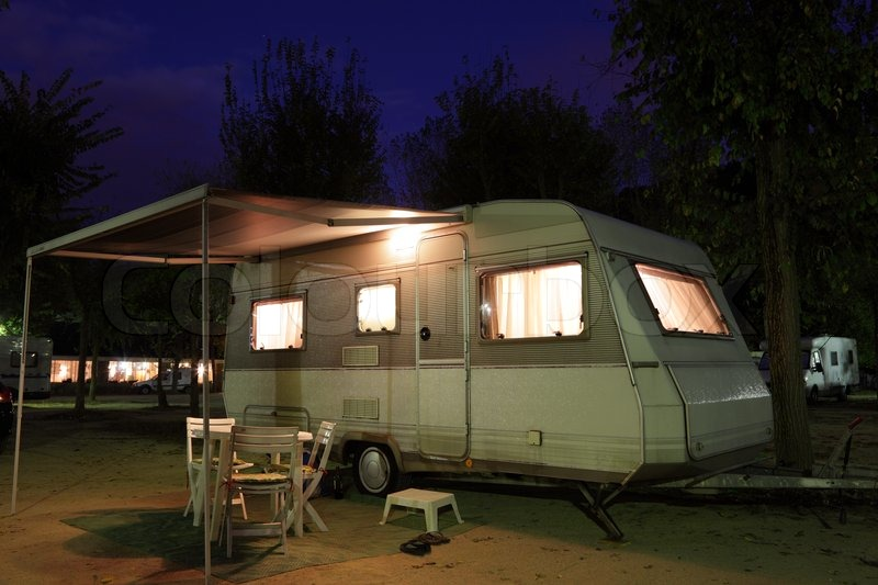 European Mobile Home On A Camping Site At Night Stock Photo Colourbox