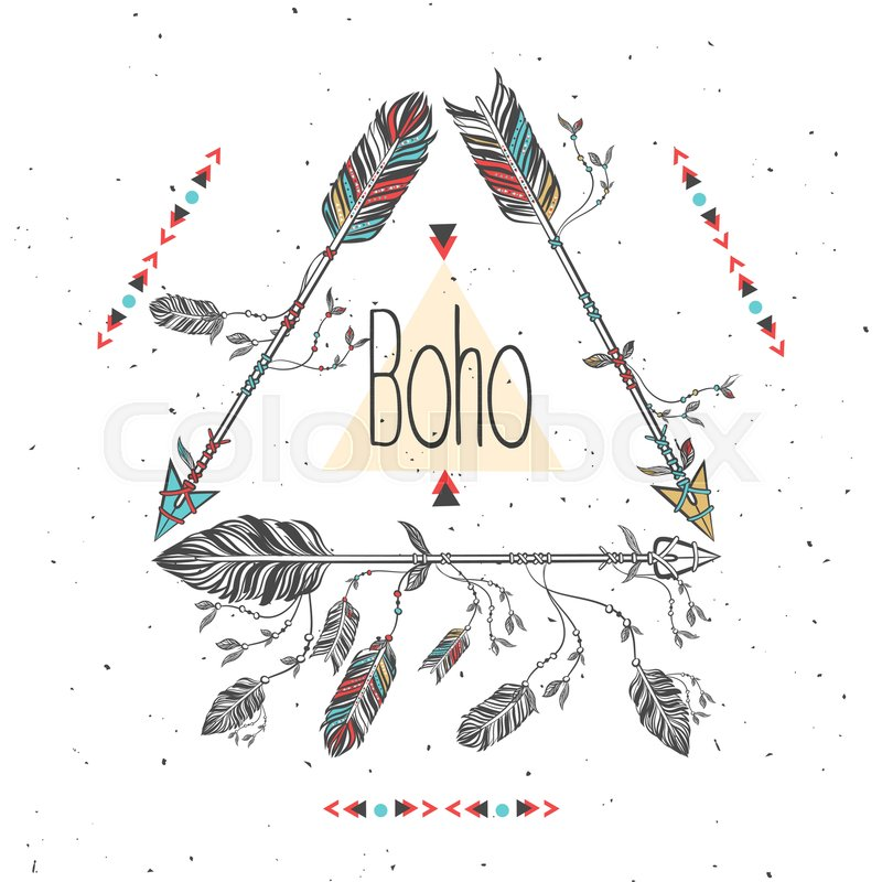 tribal frame with arrows and feathers ethnic feathers boho style