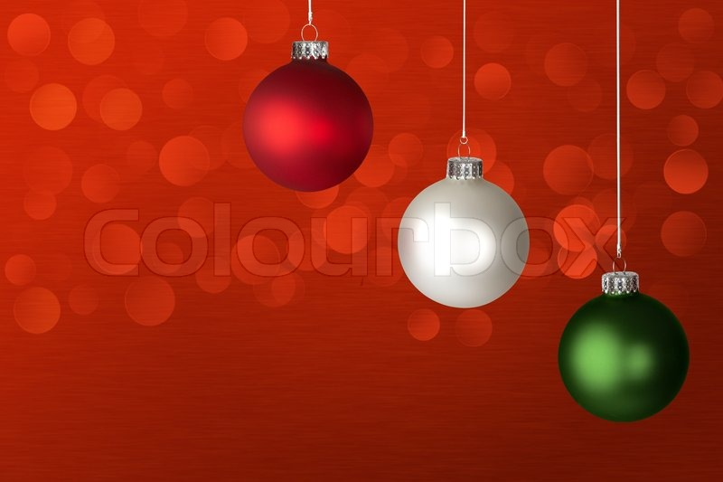 white red and green christmas ornaments lights glowingover red background stock photo colourbox - Red Green White Christmas Lights