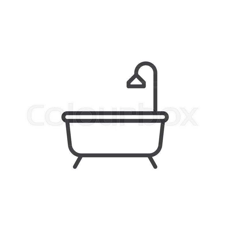 Shower Bathtub With Line Icon Outline Vector Sign Linear Style Pictogram Isolated On White Bath Symbol Logo Illustration