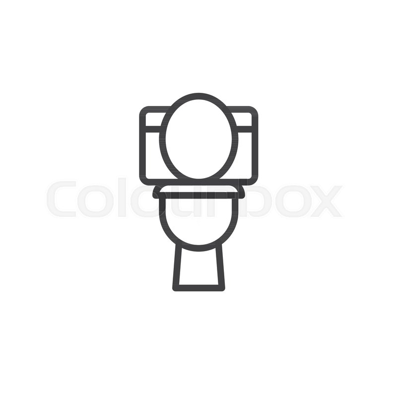 Toilet bowl line icon, outline vector sign, linear style pictogram ...