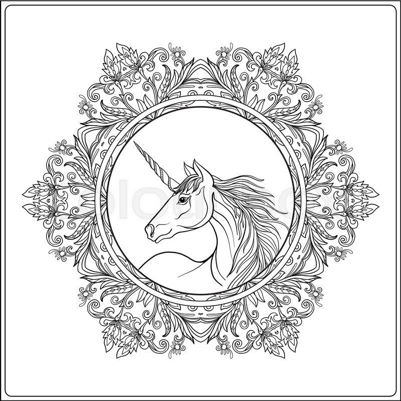 Unicorn In Vintage Decorative Floral Mandala Frame Vector