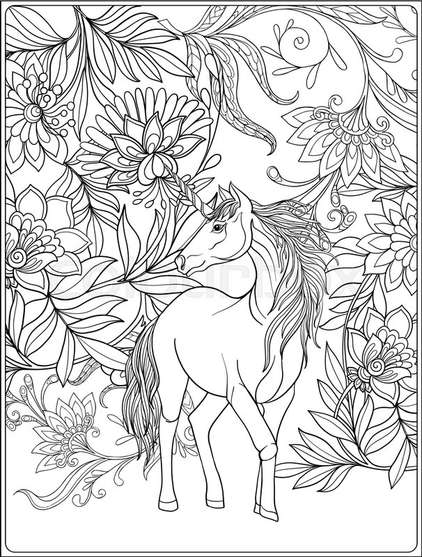 Unicorn In Magical Garden Vintage Decorative Floral Pattern Background Colored Vector Illustration Coloring Book For Adult And Older Children