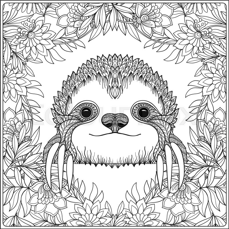 Coloring page with lovely sloth in forest coloring book for adult and older children vector illustration outline drawing stock vector colourbox