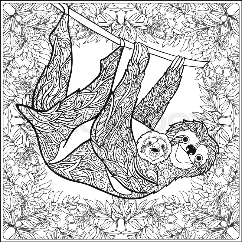 Sloth Adult Coloring Page