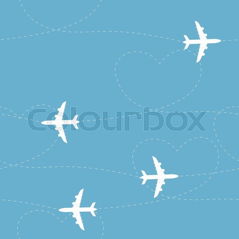 Cartoon Airplane Routes Path Seamless Pattern Background Vector Texture